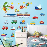 Autoabziehbilder Aufkleber Großhandel Kaufen -Großhandel- Karikatur Auto Flugzeug Schiff DIY Vinyl Wandaufkleber für Kinder Zimmer Home Decor Art Decals 3D Wallpaper Dekoration adesivo de parede