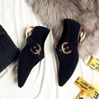 Mode italienne Femmes Pointe Toe Maïs V Or Heel Casual Chaussures Pompes Black Sheepskin Buckle Strap High Quality Ladies Winter Autumn Shoes