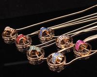 Wholesale Personalized Couple Gifts Alloy - New Korean love couple necklace pendants Personalized fine round diamond short pendant Alloy 12 colors Fashion boutique gift