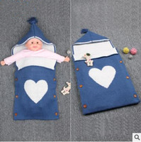 Wholesale Button Baby Bag - Large Size Summer Baby Sleeping Bags Sweet Heart Newborns Swaddle Bag Handmade Cotton Stroller Hoody Envelope Knit Blanket With Buttons