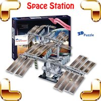 Wholesale Space Model Toys - New DIY Gift International Space Station 3D Model Astronomy Puzzle Model Satellite Universe Equipment Education Puzzle Toy