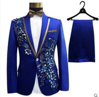 cinturones florales para vestidos al por mayor-partido (chaqueta + pantalones + pajarita + correa) de la moda de los hombres trajes de novio baile rojo de la boda vestido de flores trajes delgados blazers azul negro formal