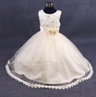 Wholesale Tutu Items - New Items !!! Light Champagne Ball Gown Flower Girl Dresses 2017 High Quality Lace Applique Flowers Crystal Beaded Princess Girl Dress Gowns