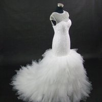 Wholesale Lace Nude Mermaid Wedding Dress - 2017 New African Styles Nude Color Tulle Illusion Mermaid Wedding Dress Custom-made Plus Size Wedding Gowns Wedding Dresses