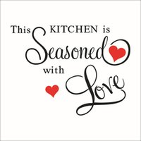 Wholesale Word Wall Art Wholesaler - Wall Stickers Kitchen Is Seasoned With Love Wallstickers Wall Stickers Word Wall Art PVC Kitchen Waterproof Stickers
