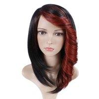 Mix Texture 16 Under $30 Short Straight Synthetic Wig For Women Natural Ombre Black To Red Color Hair With Bangs 180% Heavy Density Heat Resistant