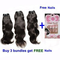 Wholesale Get 26 Inch Hair Extensions - Brazilian Peruvian Malaysian wave virgin hair extensions remy human hair weaves wavy buy 1 lot get free nails top quality Quercy Hair