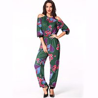 Wholesale Cheap Sleeve Jumpsuits - wholesale cheap price new arrival women clothing african style dashiki pattern printed long sleeve halter jumpsuits with pocket