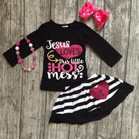 Wholesale 4t Girls Fall Clothes - Jesus loves this little hot mess Fall baby Girls skirt outfits cotton clothing set children outfits with matching accessories