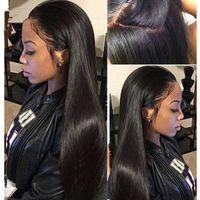 Wholesale Silk Top Human Wigs - Glueless Silk Top Full Lace Wigs Silk Straight Brazilian Virgin Hair Full Lace Front Human Hair Wigs 4*4 Silk Base Lace Wigs