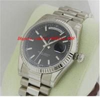 relogios venda por atacado-Relógio de pulso de luxo 118239 18kt ouro branco preto vara de aço inoxidável dos homens esporte relógios de pulso automático mens watch