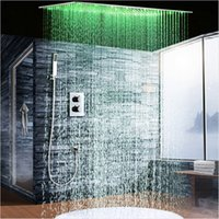 "Wholesale Rainfall Shower Set Hand - 2Jets Concealed Thermostatic Shower Set installed in wall 20""*40"" Rainfall LED Shower Head with Hand Shower Head"
