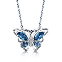 Wholesale Wholsale Sterling Silver Necklaces - Wholsale Fashion Jewelry New Set Women 925 Sterling Silver Butterfly Pendant Necklace Genuine London Blue Topaz On Stock For Gift Party