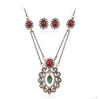 Wholesale Crysta Set - Crysta Jewelry Sets Sunflower Crystal Necklace Earring For Bridal Jewelry Sets wedding jewelry set retro necklace maxi statement