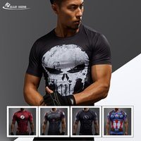 Crew Neck black compression shorts - 2017 new T shirt Compression Shirt Crosfit T shirt Men Lycra D Prined Long Sleeve T shirt Fitness Brand Clthing MMA Plus Size