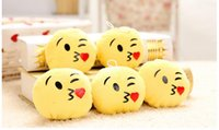 Wholesale BFFA128 QQ Emoji key chain Smiley Pillow Accessori Small Plush Doll Keychain Pendant Emotion Yellow Expression Stuffed Toys Christmas gift