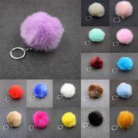 Wholesale Skeleton Handbags - Solid Color Imitate Rabbit Fur Ball Keychain Pom Pom Car Keychain Handbag Key Ring 3.15 Inch Fluffy Faux Rabbit Fur C95Q