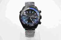 Wholesale Deep Bezel - Deep Black Divers Watch Rotatable Ceramic Bezel 45MM Mens Watches With Black Stainless Steel Band Quartz Chronograph Movement Blue Style