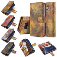 Wholesale Magnet Cell Phone Cases - For Samsung Galaxy S8 S7 edge Plus Note8 Magnet Card Slots Leather Case Wallet Flip Cover for iphone x 8 7 6 6s Cell Phone Back Cover OPPBag