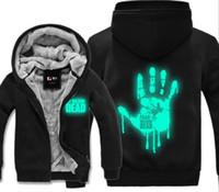 Wholesale Active Walking - TV Series The Walking Dead Zombie Hoodie Luminous Hooded Mens Thick Zipper Cardigan Sweatshirts Winter Fleece Jackets Coats