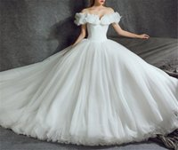 Wholesale Decorating Organza - Off Shoulder Tulle and Organza Ball Gowns Cinderella Wedding Dresses 2018 with Butterfly decorate Bridal Dresses special occasion dresses