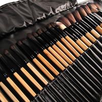 meilleur ensemble de pinceaux de maquillage professionnel achat en gros de-Liquidation de stock ! 32pcs Aucun Logo Pinceaux De Maquillage Professionnel Outils Cosmétiques Maquillage Pinceau Ensemble Cheveux Synthétiques La Meilleure Qualité Bois Noir