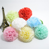 Wholesale Large Silk Flowers Yellow - Wholesale- 5pcs Large Silk Carnation Handmake Artificial Flower Head Wedding Decoration DIY Wreath Gift Box Scrapbooking Craft Fake Flower