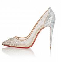 vestidos de tacón alto al por mayor-Zapatos de boda de tacón alto transparentes en punta 10 CM Zapatos de boda de diamantes de imitación brillantes en lentejuelas bombas de color nude PU Vestidos de novia en tobillo