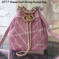 Wholesale Stripe Open Body - 2017 Cute Women's Brand Chain String Bucket Bag Beauty Black Lambskin Chevron Bucket Crossbody Shoulder Bag women Genuine Leather Handbags