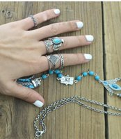 Wholesale Dive Rings Wholesale - idealway 6Pcs set Korea Fashion dove shape silver plated Metal turquoise finger rings for women Jewelry 12set lot