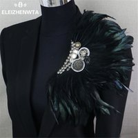 Wholesale Feather Corsages - Wholesale- Boutonniere Clips Collar Brooch Pin Wedding Bussiness Suits Banquet Brooch Black Feather Anchor Flower Corsage Party Bar Singer