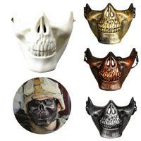 máscara de media cara del cráneo del airsoft al por mayor-Masquerade Halloween Masquerade Party Airsoft Skull Mask Novedad Motocicleta Máscaras faciales