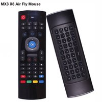 Wholesale 3d Keyboard Controller - MX3 X8 Wireless Remote Controller 3D Fly Air Mouse with Multifunctional USB 2.0 wireless remote control keyboard for Android TV Box