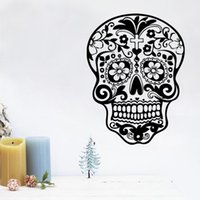 Wholesale Decoration Flower Pieces For Paper - 28x37cm Cartoon Skull Flower Design Vinyl Wall Stickers Removable Art Mural for Home Decoration Kids' Bedroom