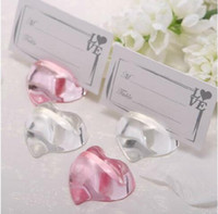 Wholesale Wedding Name Holders Crystals - Crystal peach heart place card holder pink and transparent wedding favor gift wedding table name card holder seat clamp