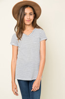 Wholesale Wholesale Childrens White T Shirts - 2017 Teenager Striped Cotton T-shirts Big Baby Girls Fashion V-neck Jumper Tops Babies Summer Casual Tees childrens clothing