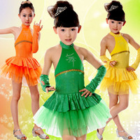 Wholesale Dresses Latin Children - New Hot sell Girl bling bling Diamond Princess Dress Pretty Children Latin Dance Clothing Wholesale  5 colors Free Shopping