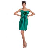 koyu yeşil diz elbise toptan satış-Resmi Stil Nedime Elbisesi Üstü Diz Boyu Koyu Yeşil Saten Kapalı Omuz Kılıf Elbise 2017 Yeni