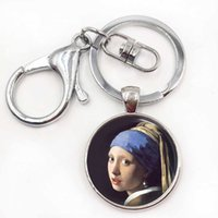 Wholesale Masterpiece Men - Girl with A Pearl keyring - Handcrafted Custom Keychain - Johannes Vermeer's Masterpiece Glass Keyring Jewerly Key Chain Ring