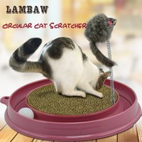 Wholesale Plastic Colour Ring - cat kitten scratcher ringing ball purple 3 colour plastic tray circle cardboard pad interaction feather funny teaser