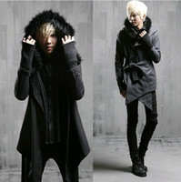 Wholesale Trench Coat Men Black Fur - Wholesale- Fashion Mens Wool Coats Winter 2014 Pea Coats Men Fur Hooded Long Jacket Men Trench Coat With Belt,Black Dark Grey,M-XL,Free