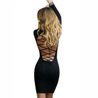All'ingrosso- Nadafair manica lunga sexy stretchy vestito da bodywear Bandage Club 2017 donne nero rosso merletto in su abiti backless party