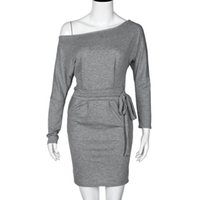 Wholesale Dress Women Sexy Sleeves - Spring Autumn Fashion Dress Women Long Sleeve 2017 Off the Shoulder Casual Party Dress Sexy Black Short Dress Vestidos Plus Size