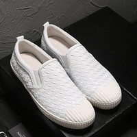 Wholesale Slimming Sports Shoes - Europe and the United States woven breathable sports men really leather trend soft shoes European station sets of lazy slim shoes