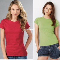 Wholesale Summer Cotton Shirts For Women - 20 Colors Brand T Shirt O Neck Short Sleeve t-shirt Summer New Fashion Casual Cotton solid tees for women Female Top