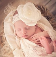 Wholesale Princess Photographs - Baby Girls Headbands Pearl Flower Lace band Princess Kids Photograph Props Hair Accessories EB23