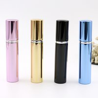 Wholesale Black Spray Bottles - 7ml perfume bottle aluminum pipe bright bottles atomizer Spray Travel glass Refillable bottle 4 colors black blue rose gold Home Fragrances