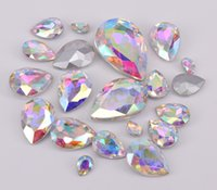 Wholesale Point Back Crystal Rhinestone - Tear Drop Faceted Glass Jewels Rhinestone White AB Crystal Point Back Fancy Strass Stones For Jewelry Clothing Crafts Decorative