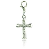 30 Pcs Fashion Charms Pendants Dangle With Rhinestone Cross Charms Com Fivela De Lagosta DIY Jóias Fazendo Acessórios