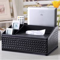 Wholesale-Yazi Woven PU-Leder Multifunktions-Tissue-Aufbewahrungsbox Stift Remote Desk Organizer Papiertuch Serviette Halter Dispenser